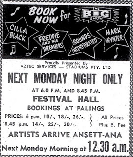 Obviously the Sydney advertisement. In Melbourne Merv Benton was the local support act.